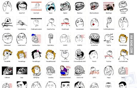 List Of Meme Faces - meme list 9gag