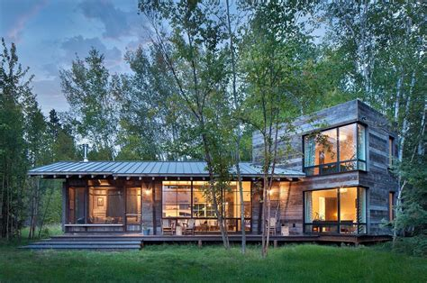 Lake Cottage Plans by Modern Rustic Cabin In Montana Offers Captivating Lakeside
