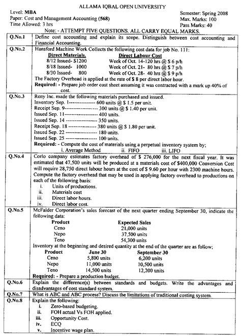 Aut Mba Fees by Aiou Business Administration Mba Past Papers Aiou Cheats