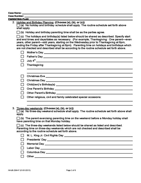 Parenting Plan Form New Hshire Free Download Custody Plan Template