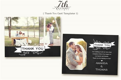 wedding thank you card photoshop template thank you card 1 card templates on creative market
