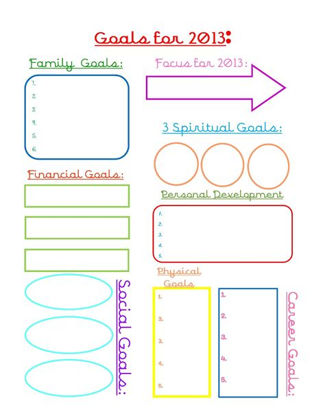 set template 2013 goal worsheet free printable goal and goals worksheet