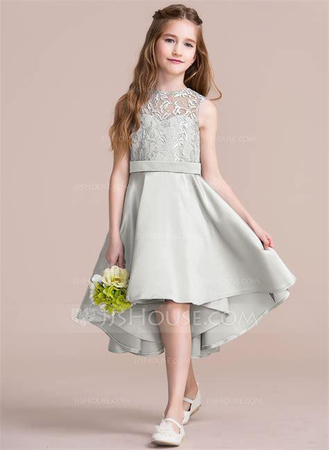 Junior Bridesmaid Dress by A Line Princess Scoop Neck Asymmetrical Satin Junior