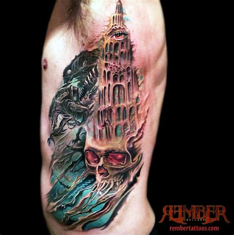 dark ages tattoo skull and castle by rember age studio