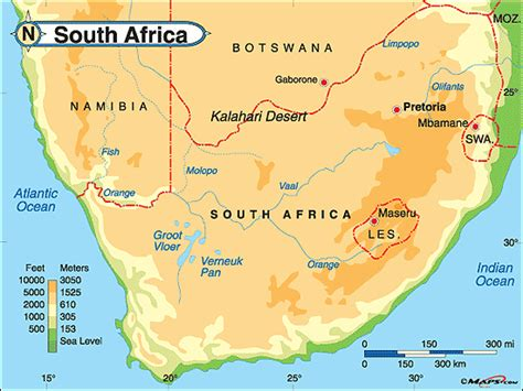 south africa physical map south africa physical map by maps from maps