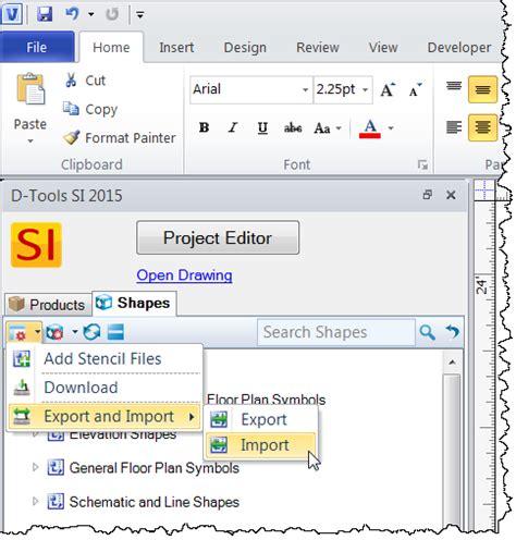 import visio stencils import export stencils d tools