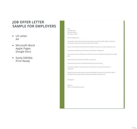 job offer letter sample employers template