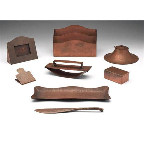 Copper Desk L by Gustav Stickley Desk Set Hammered Copper Letter Rack In
