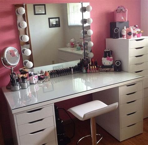 Makeup Table Ideas Linnmon Alex Table Makeup Vanity Chair Salon Ideas Follow Me Vanity Chairs