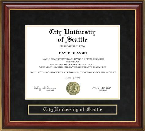 City Of Seattle Mba Accreditation by City Of Seattle Cityu Mahogany Diploma Frame