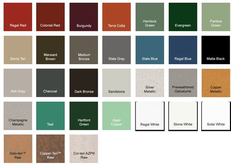 metal roof colors standing seam metal roof color options