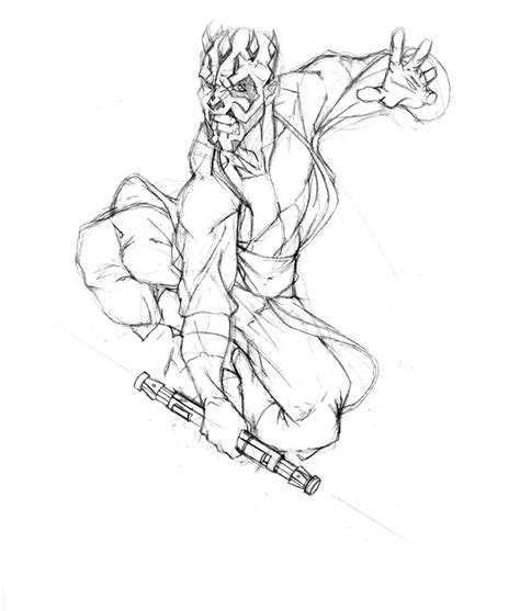 coloring pages of darth maul darth maul skectch by thenota on deviantart