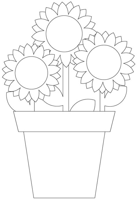 sun flower template sunflower digital st pot plant cut file template