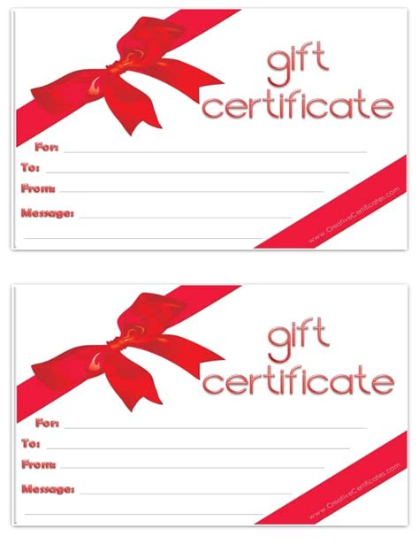 free gift certificate template customizable