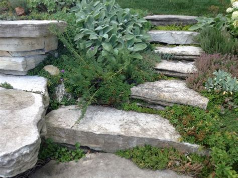 Rock Garden Steps Flagstone Bench Rock Garden Steps Mediterranean Landscape Chicago By Gardens