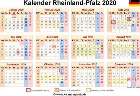 Kalender 2020 Rlp Kalender 2020 Rheinland Pfalz Ferien Feiertage Pdf Vorlagen