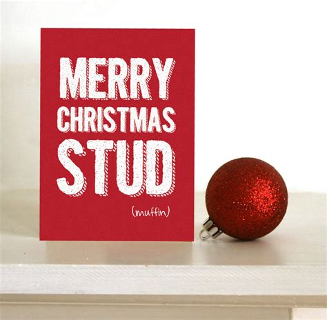 funny christmas card merry christmas stud muffin card  boyfriend husband wife