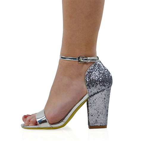 Glitter High Heel Sandals new womens strappy sandals glitter heel prom