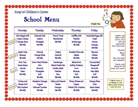 child care menu templates free free daycare forms and menus