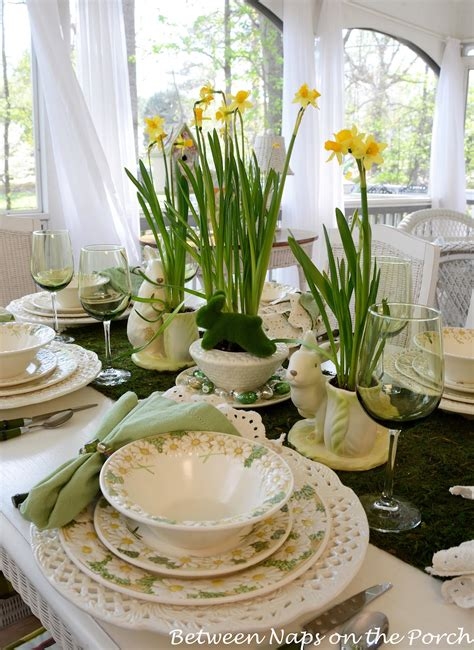 Dining Room Table Setting Dishes Easter Table Setting With Daffodil And Moss Centerpiece