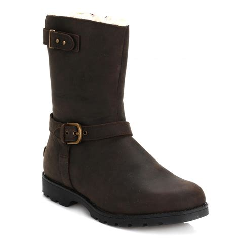 leather biker boots ugg womens java grandle leather biker boots