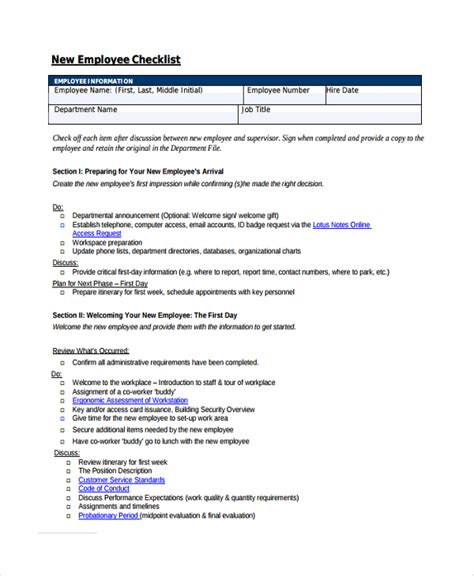 new employee checklist template sle new employee checklist 16 free documents