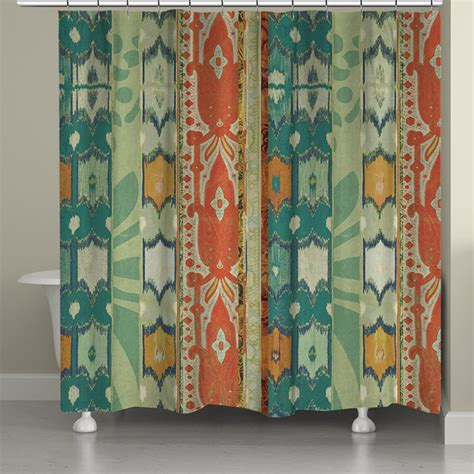 ikat shower curtains ikat bloom shower curtain laural home