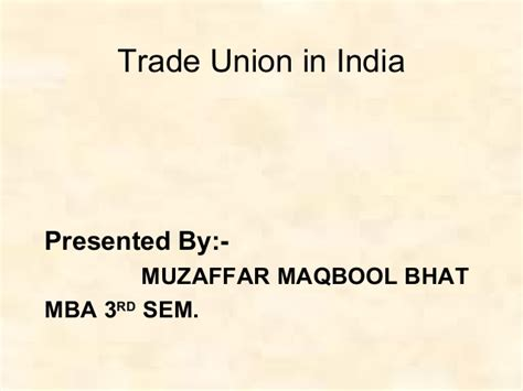 Trade Union Notes Mba by Trade Union In Indiappt