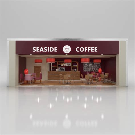 Coffee Max coffee shop with interior 3d model max obj 3ds c4d