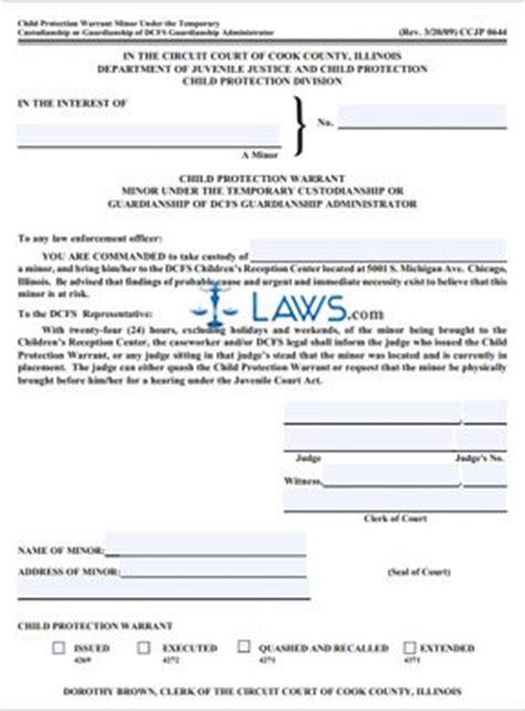 form ccjp child protection warrant minor