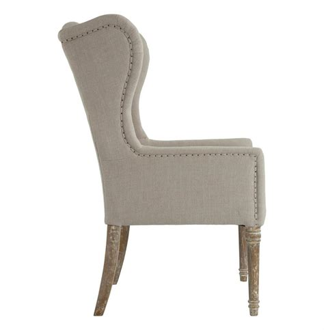 Dining Wing Chair Eli Country Wing Back Dining Occasional Chair Linen Kathy Kuo Home