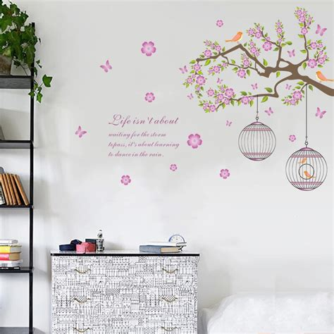 wall stickers bird cage flower branch vine removable wall