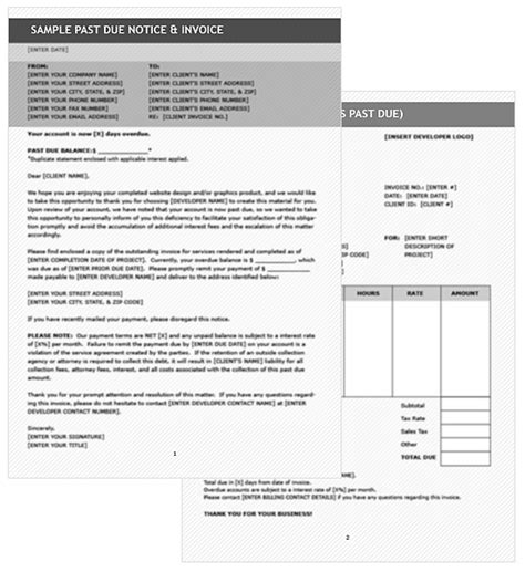 past due invoice template past due invoice letter template adobe pdf microsoft