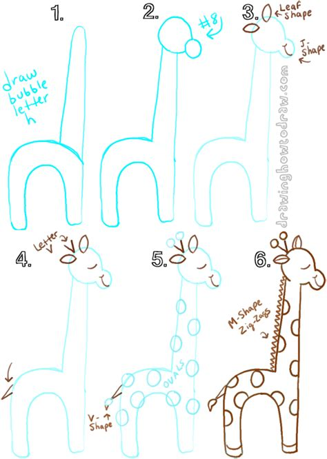 Drawing 7 Letters by Big Guide To Drawing Giraffes With Basic Shapes