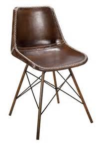 chaises en cuir marron style vintage pour hotellerie doris
