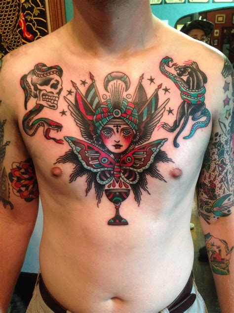 american traditional chest tattoo traditional chest done by jake lehmann pharaoh s