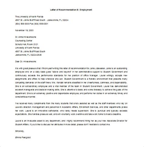 8 Job Recommendation Letters Free Sle Exle Format Download Free Premium Templates Letter Of Recommendation Template From Employer