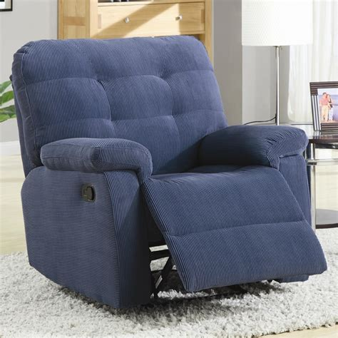 denim recliner denim blue corduroy rocker recliner by coaster 600191