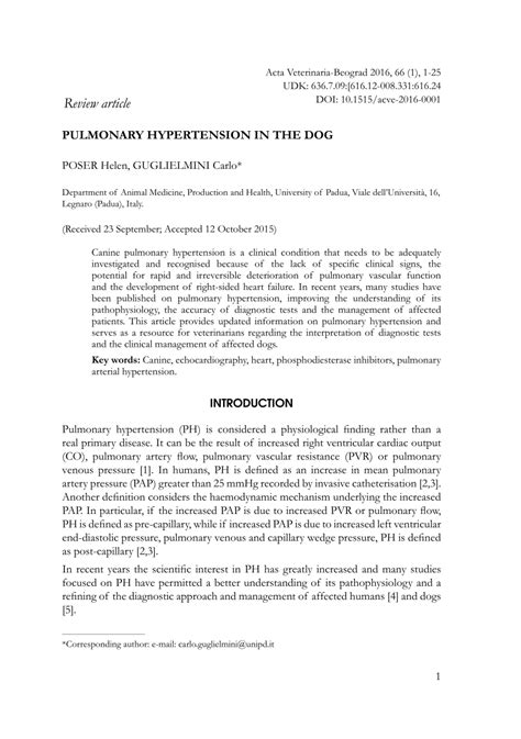 pulmonary hypertension in dogs pulmonary hypertension in the pdf available