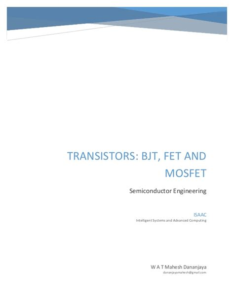 transistor mosfet slideshare transistors bjt fet and mosfet