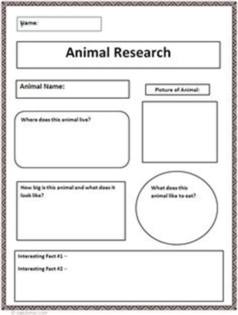 Animal Research Project Printables Small Quick Graphic Organizers Students And Animal Animal Report Template 5th Grade
