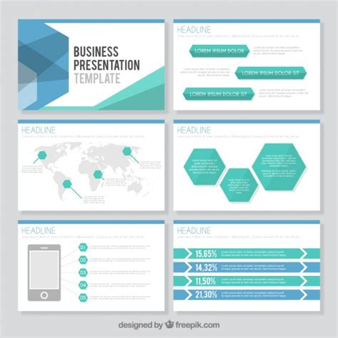 business ppt template free hexagonal business presentation template vector premium