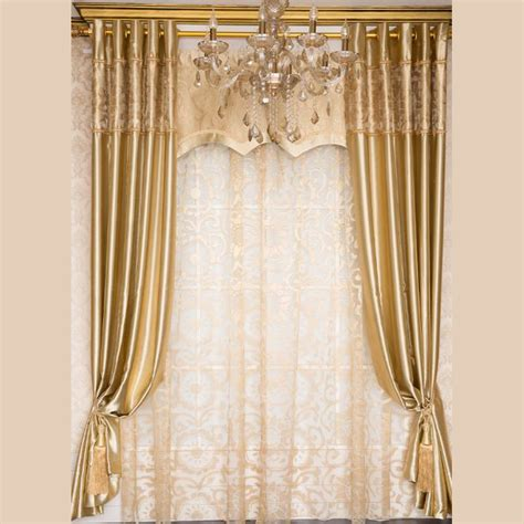 light gold curtains european style light gold polyester jacquard floral
