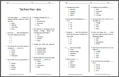 Punic Wars Pop Quiz 18 Questions Student Handouts