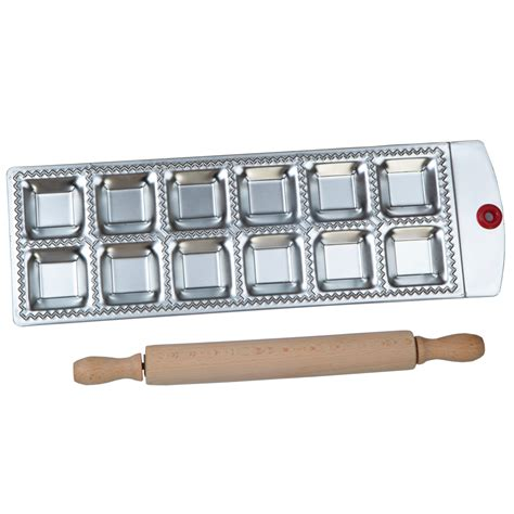 Rolling Pin Square A40 12 square ravioli molding tray set with a wooden rolling pin pasta cutter pastry ravioli maker