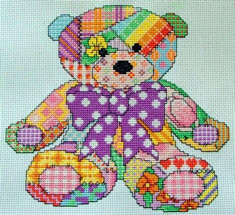 Free Patchwork Teddy Pattern - patchwork teddy cross stitch pattern instant
