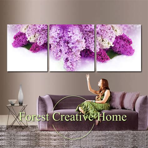Flower Home Decor Modern With Photo Of Flower Home Plans Aliexpress Buy Purple Flowers Canvas Painting Wall Living Room Modern Home Decor Three