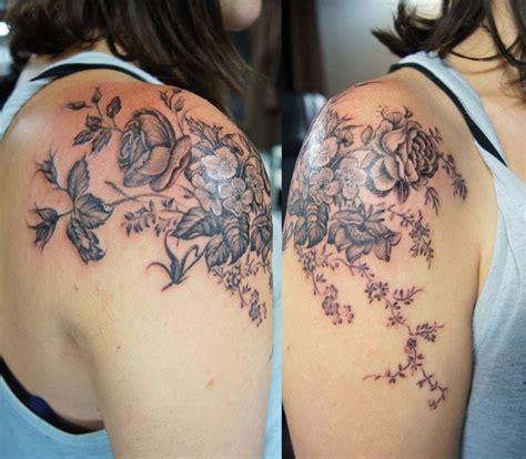 tattoo shoulder cap chronic ink tattoo toronto tattoo vintage flowers