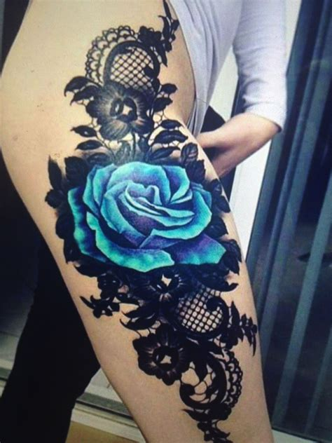 blue and black rose tattoo pin by on s