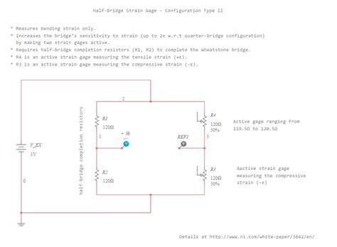 wheatstone bridge bond graph half bridge strain gage configuration type ii multisim live